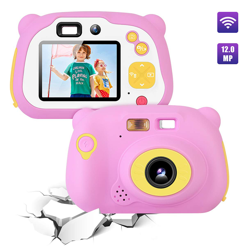 أطفال كاميرا 8.0MP القابلة لإعادة الشحن الرقمية الأمامية والخلفية كاميرا صورة شخصية الطفل ، لعب هدية للبنين والبنات 4-10 سنة