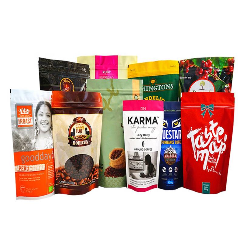 مخصص مطبوعة دوق-بايش الأغلاق زيبلوك يقف الحقائب الألومنيوم احباط أكياس القهوة التعبئة والتغليف مع سحاب