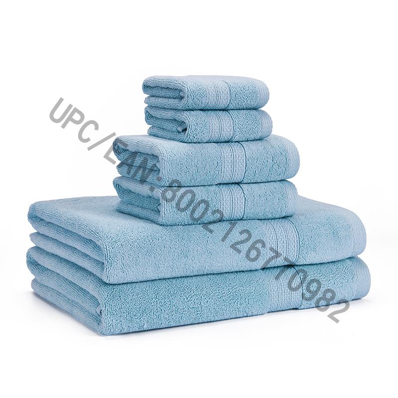 مناشف الحمام ، مجموعة من المناشف القطنية الممشطة ، مجموعة من 6،2 منشفة ، 2 مناشف اليد ، مناشف الحمام ، مناشف حمام السباحة ، مناشف منزلية ، ماصة مريحة ، مناشف مريحة ، سميكة للغاية لينة (أزرق فاتح ، 6)