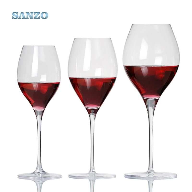 سانزو الأسود الجذعية lismore بالون النبيذ الزجاج اليدوية الرصاص كريستال محفورة نظارات نظارات سميكة