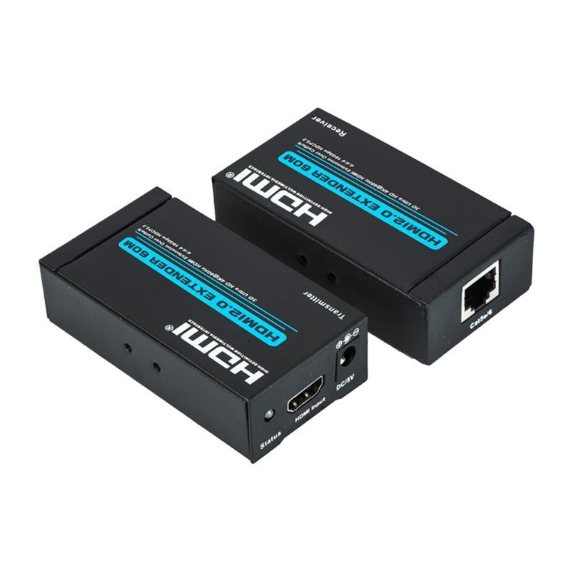 V2.0 HDMI موسع 60 متر على كابل واحد cat5e / 6 دعم Ultra HD 4Kx2K @ 60Hz HDCP2.2