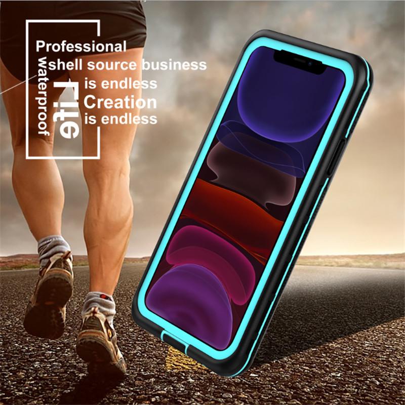 جديد PC + tpe + pet ماء snowproof ضد الغبار اكسسوارات الهاتف حالة آيفون 11 (الأزرق) الغطاء الخلفي شفاف