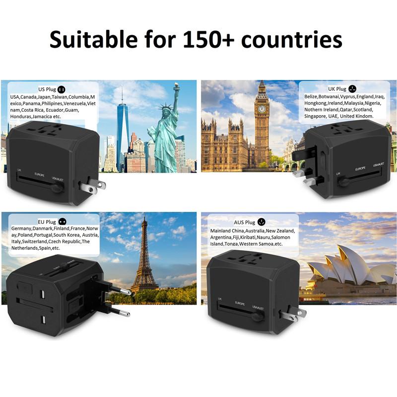RRTRAVEL محول السفر العالمي الذكي الجديد المخصص مع USB شاحن سريع قابس الطاقة لأوروبا المملكة المتحدة الولايات المتحدة أستراليا