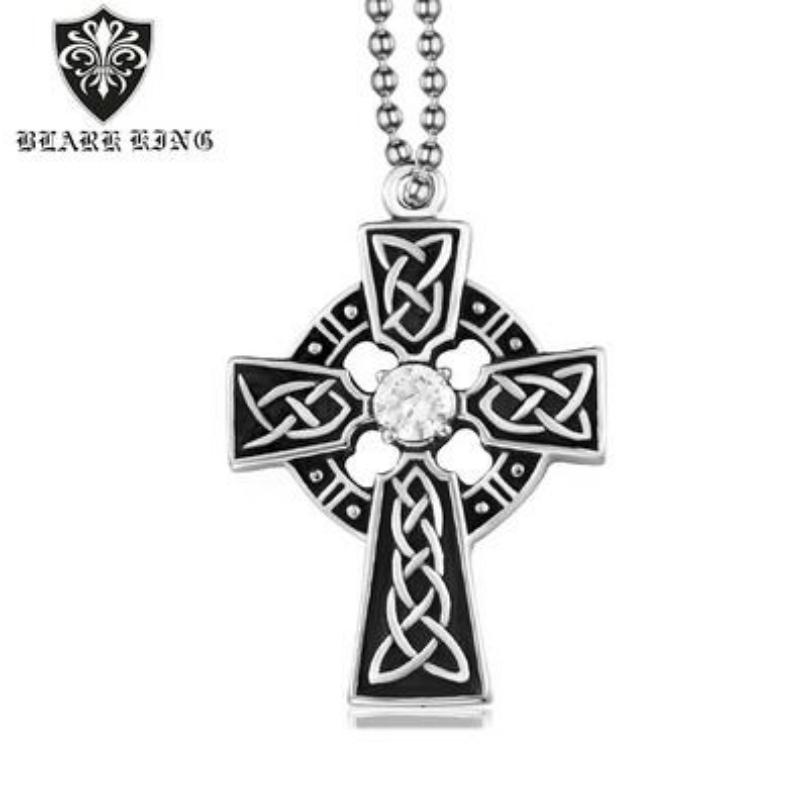 شخصية نمط رجالي الفولاذ المقاوم للصدأ الصليب خاتم الماس خمر قلادة الصليب